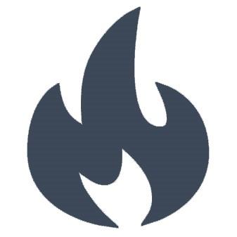 Blaues Icon einer Flamme
