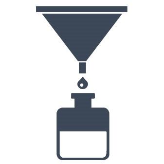 Blaues Icon eines Filtergerätes