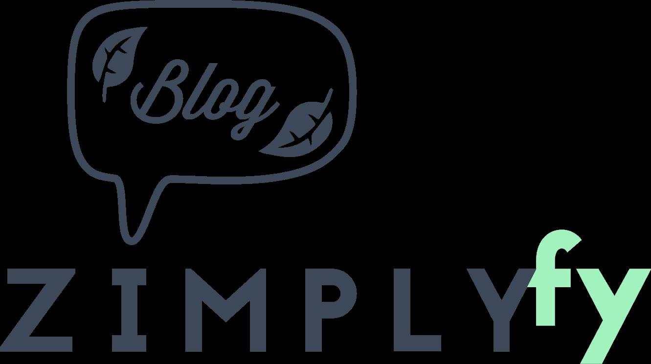 Logo des zimplyfy-Blogs mit Bubble und Blättern als Blogsymbol blau
