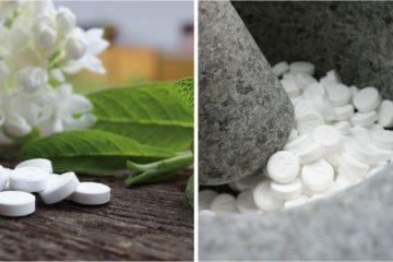 zwei Ansichten von Schüssler Salzen in Tabletten-Form, links neben einer Blume, rechts in einem Mörser