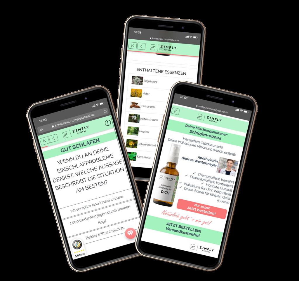 Darstellung der Konfiguration & Bestellung bei ZIMPLY NATURAL in mobiler Ansicht