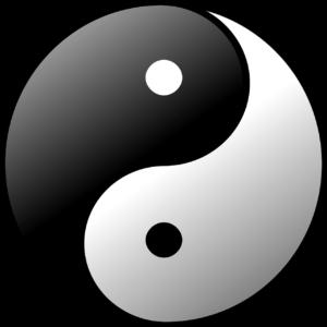 schwarz weisses yin yang zeichen
